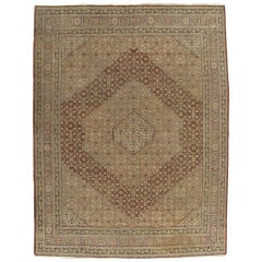 Antique Tabriz Carpet, Handmade Persian Rug in Masculine Gold, Brown and Taupe