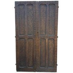 Moroccan Carved Cedar Wood Door, Double Panel