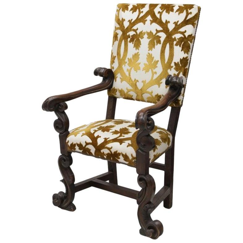 Italian Baroque Style Carved Walnut Armchair, 19th Century