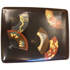 Japanese Lacquer Box with Scattered Fans