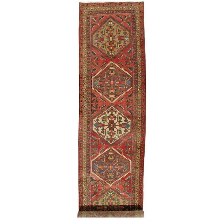 Antique Heriz Northwest Persian Runner, Handmade Rug Navy Light Blue, Rust Ivory For Sale