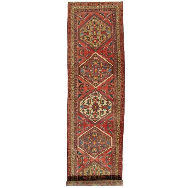 Antique Heriz Northwest Persian Runner, Handmade Rug Navy Light Blue, Rust Ivory For Sale