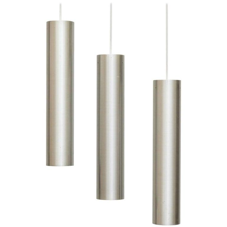 Set of Three RAAK Tubular Pendant Lights