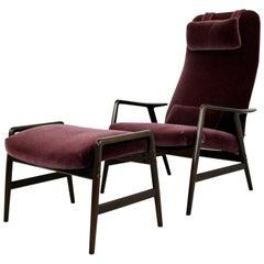 Mid-Century Modern DUX High Back Reclining Lounge Chair & Ottoman, Sweden, 1960s