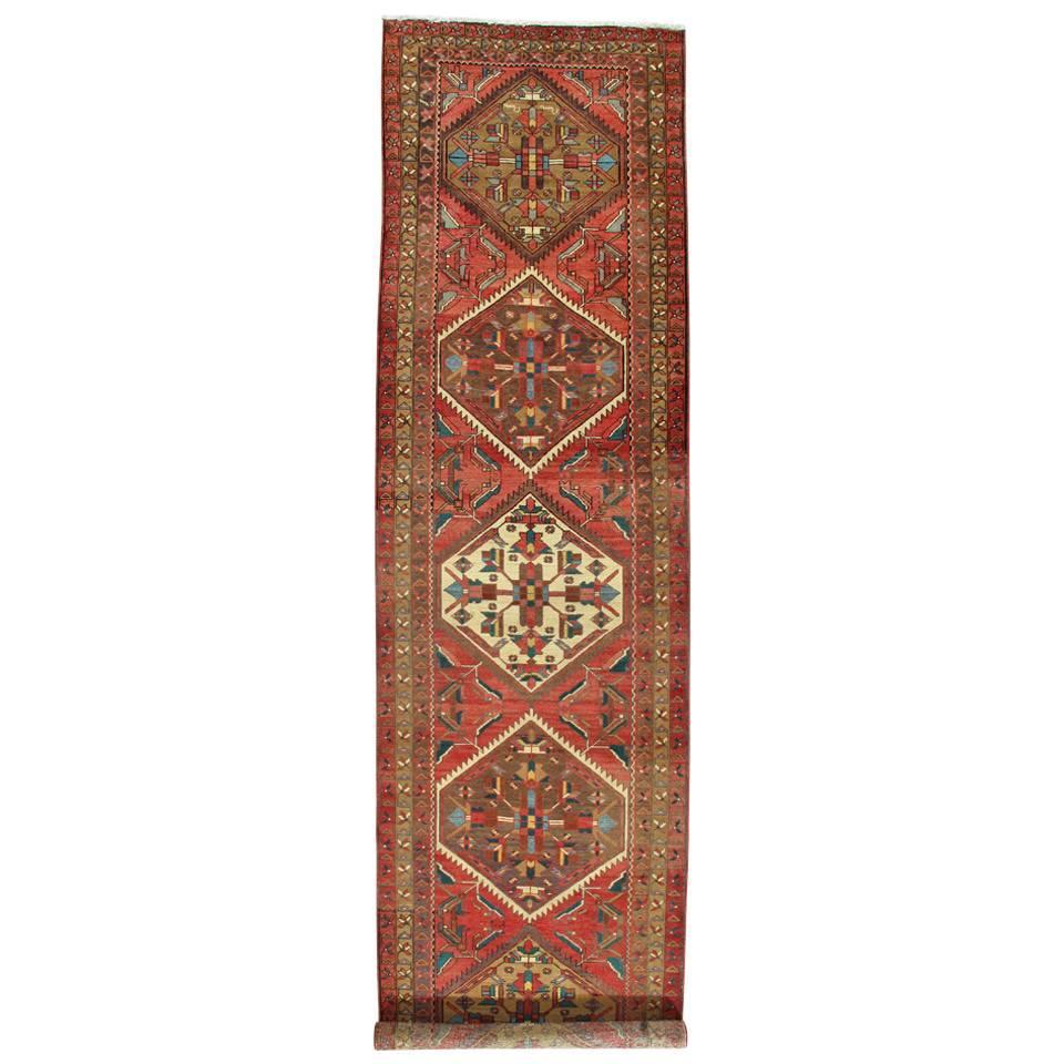 Antique Heriz Northwest Persian Runner, Handmade Rug Navy Light Blue, Rust Ivory
