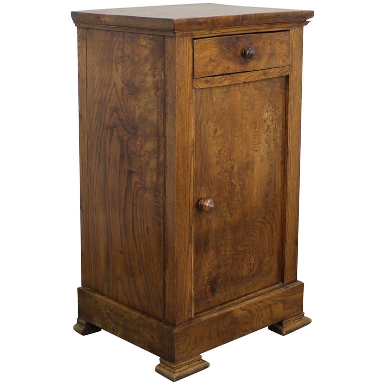 Antique French Burr Elm Side Cabinet For Sale