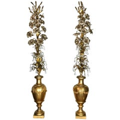Antique Pair of French Bronze Doré and Silver Gilt Floral Arrangements
