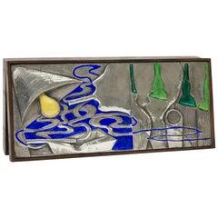 Rosewood, Silver and Enamel Box by Silversmith Ottaviani