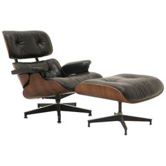 Original Charles and Ray Eames Brazilian Rosewood Lounge Chair and Ottoman