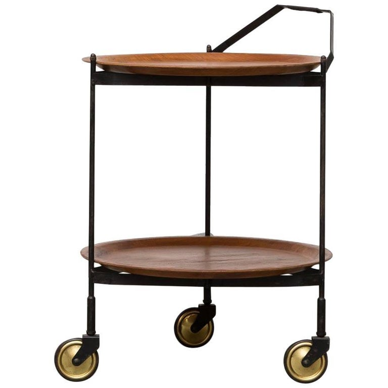 Midcentury Rolling Cart with Removable Teak Trays For Sale