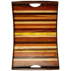 Don Shoemaker Large Exotic Wood Inlaid Tray for Señal, circa 1970