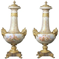 Beautiful Pair of Late 19th Century Gilt Bronze, Enamel and Sèvres Style Vases