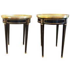 Pair of Ebony Pierced Bronze Galleried Bouillotte / End Tables Manner of Jansen