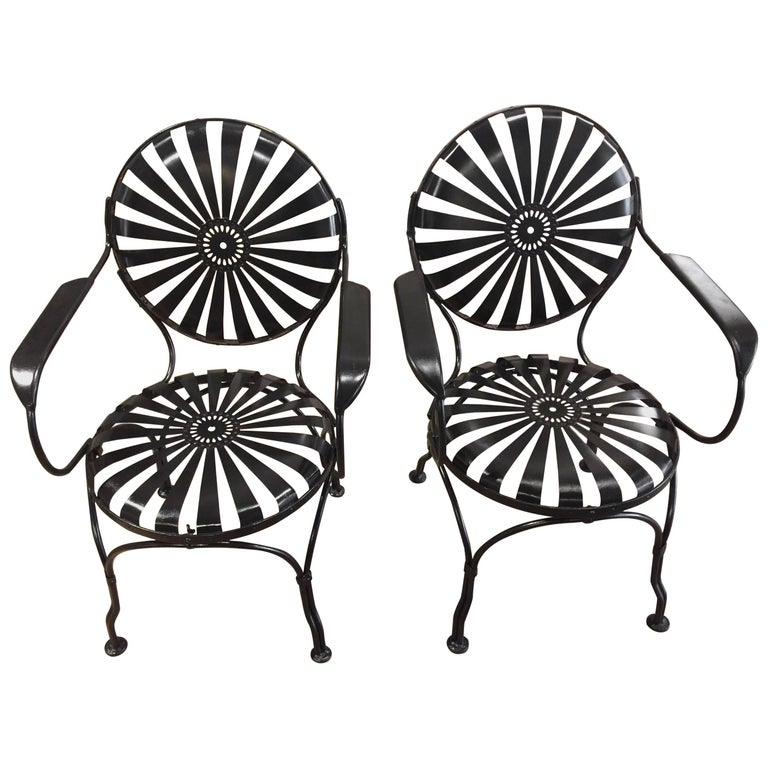 Large Set Francois Carre French Garden Chairs