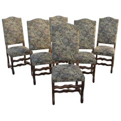 Fine Set of Six French Louis XIII Style Os De Mouton Dining Chairs, circa 1880s