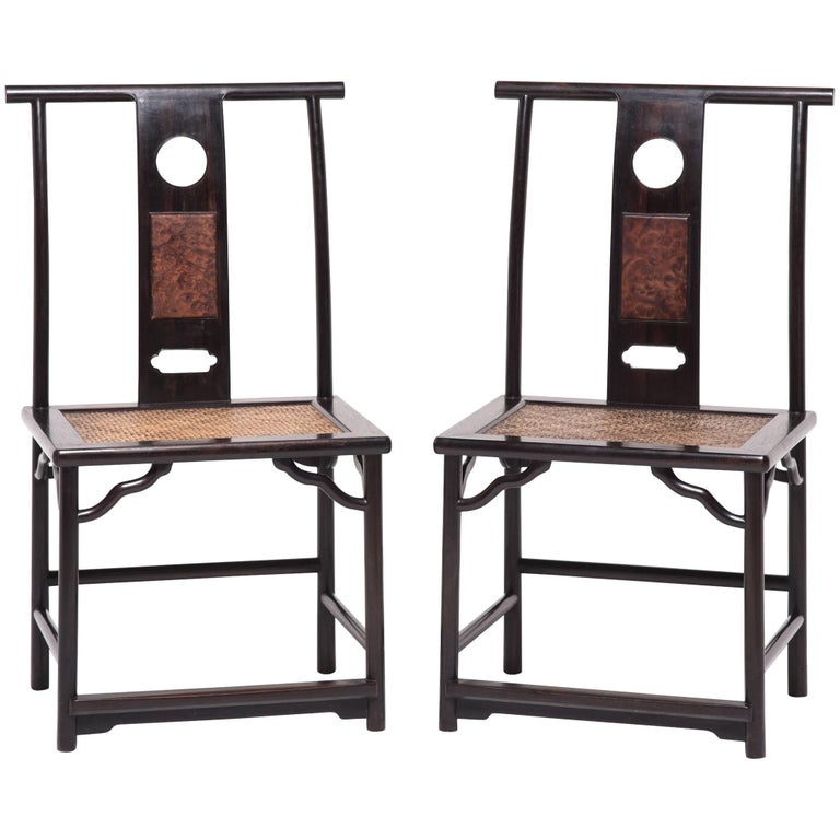 Pair of Chinese Full Moon Administrator's Chairs