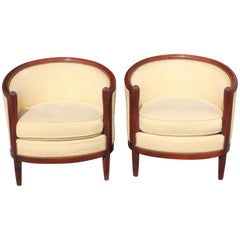 Pair of French Art Deco Club Chairs Mahogany Attributed by Paul Follot