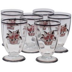 Set of Six Goupy Enameled Beverage Glasses