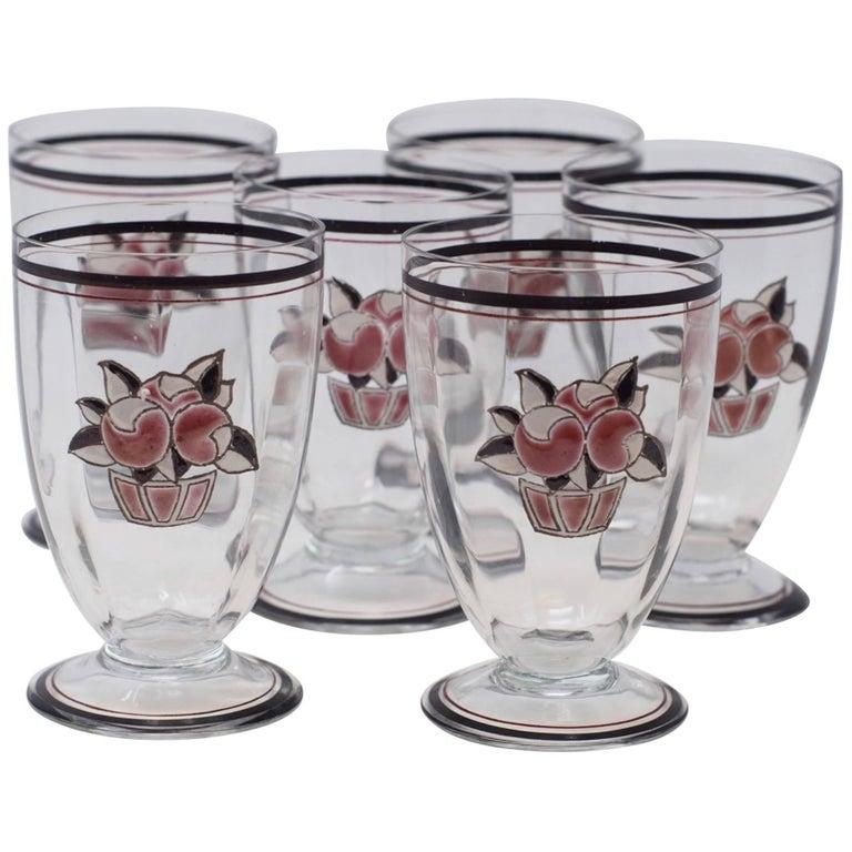 Set of Six Goupy Enameled Beverage Glasses For Sale