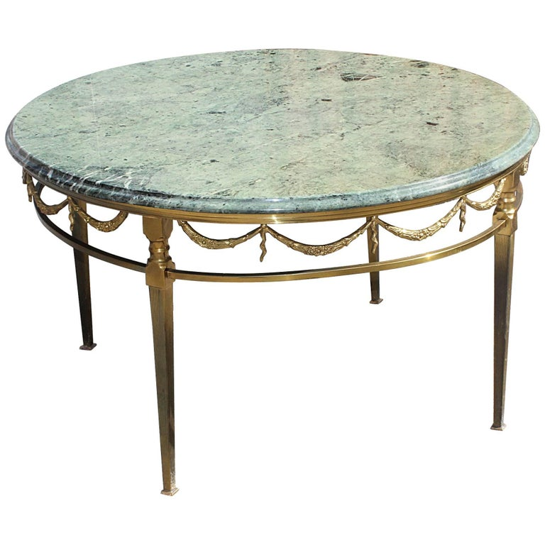 Marble Coffee Table Wood Legs: White Marble Top French Over-Sized Round Wood Coffee Table