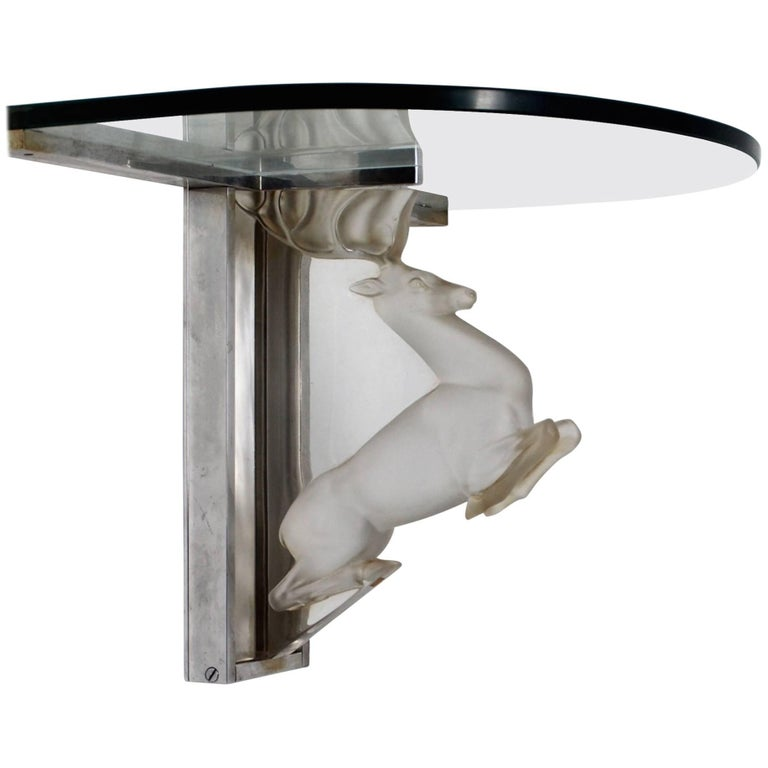 Marc Lalique Molded Glass Wall Console