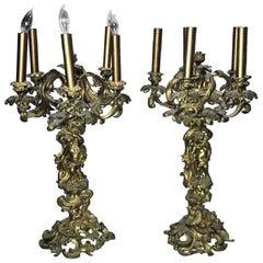 Antique Pair of French Rococo Style Bronze Cherub Candelabra