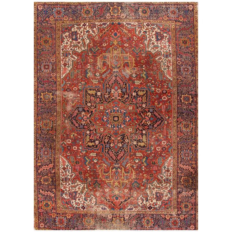 Red Rust Persian Heriz Carpet, 1920s