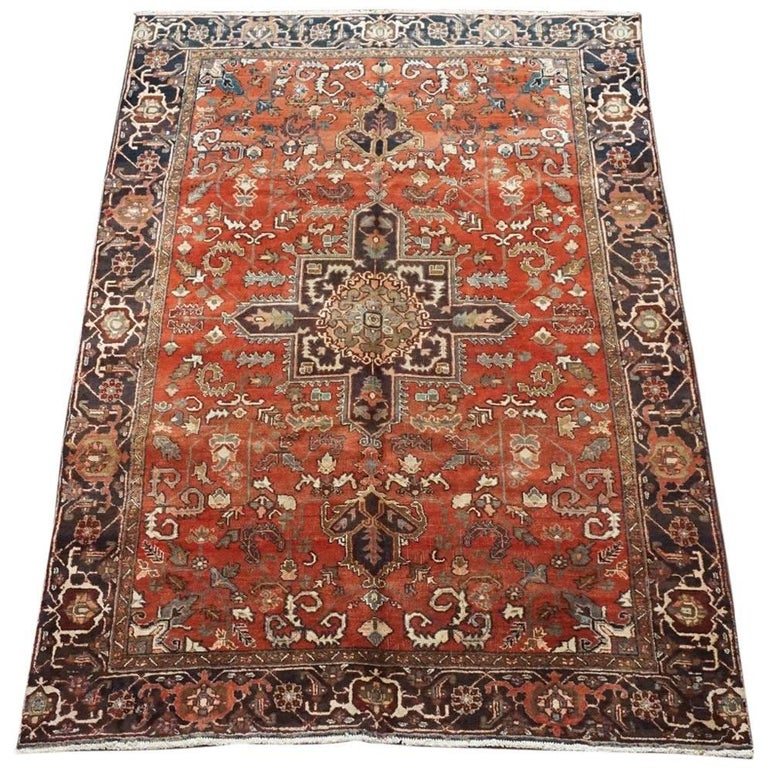 Antique Cotton Agra Rug With Abrash Circa 1900 For Sale: 1930s Rust Heriz Serapi Rug For Sale At 1stdibs