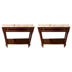 Pair of Louis XVI Style Mahogany Consoles Fashioned after Maison Jansen