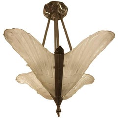 Beautiful French Art Deco Geometric Chandelier by E.J.G