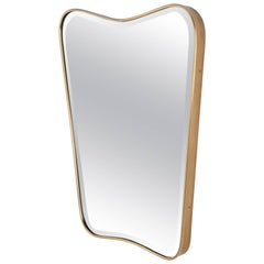 Italian 1950s Shaped Brass Wall Mirror
