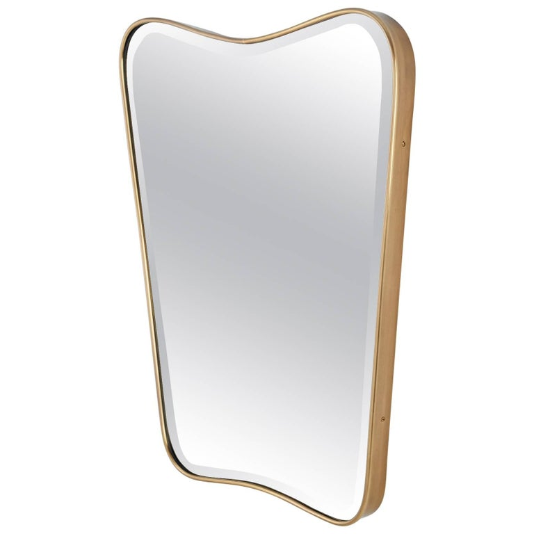 Italian 1950s Shaped Brass Wall Mirror 1