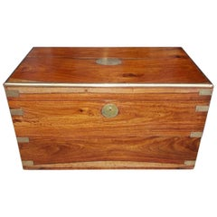 English Camphor Wood Brass Mounted and Hinged Export Trunk, Circa 1830