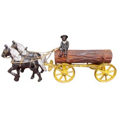 American Cast Iron Polychromed Horse and Log Wagon Pull Toy, Circa 1880