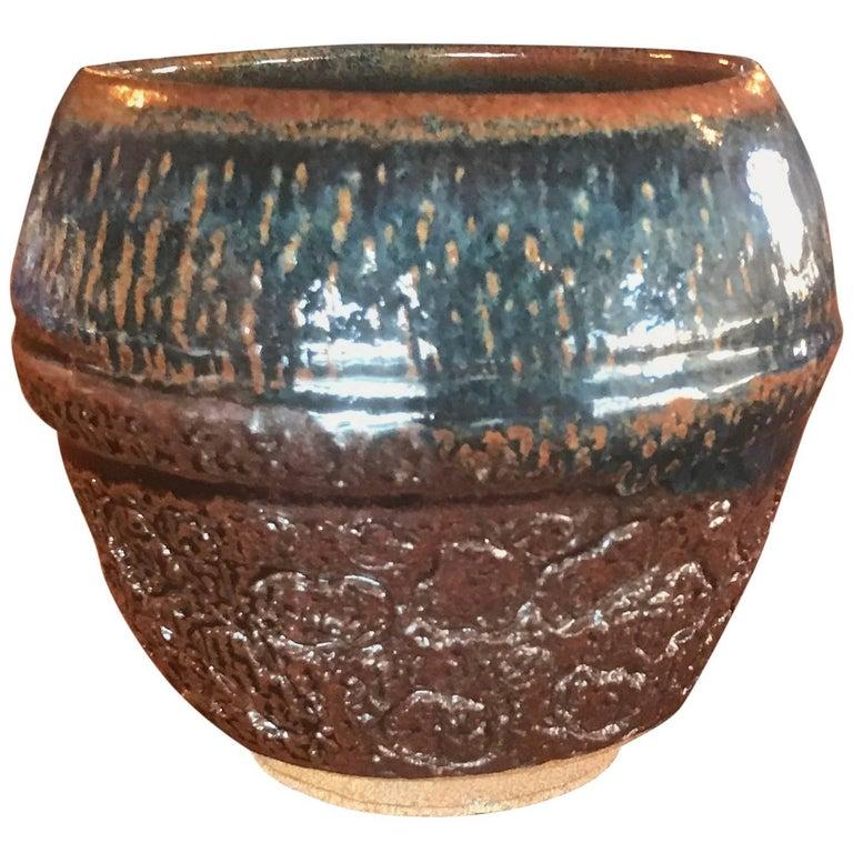 Studio Vintage Textured Ceramic Midcentury Abstract Pot Pottery Art