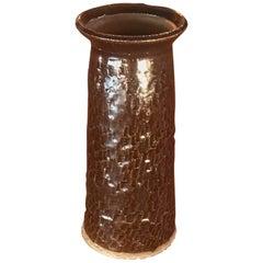 Midcentury Studio Textured Tall Ceramic Vase Pot Pottery Art
