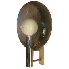 Midcentury Chrome and Lucite with Smoked Plastic Reflector Wall Light Sconce