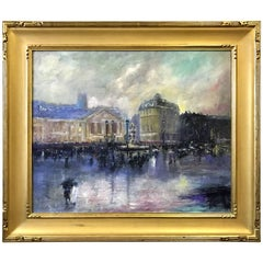 Jeffrey Leitz Signed French Oil Painting Showers of March Paris, Gold Frame