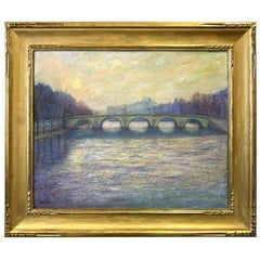 Jeffrey Leitz Signed Painting Le Pont Royal Paris Oil on Belgian Linen