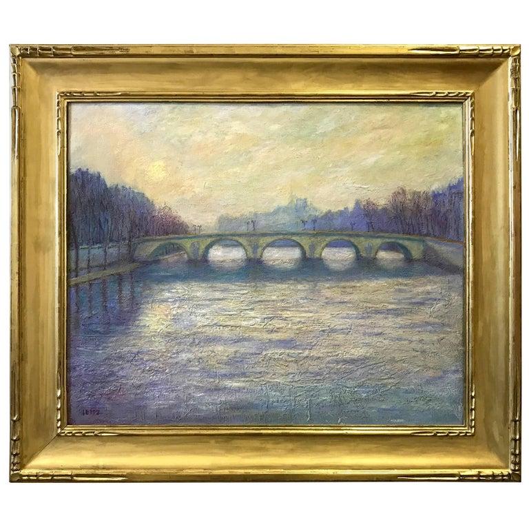 Jeffrey Leitz Signed Painting Le Pont Royal Paris Oil on Belgian Linen