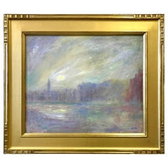 Jeffrey Leitz Oil Painting Grand Canal Venice Italy 23-Karat Gold Leaf Frame