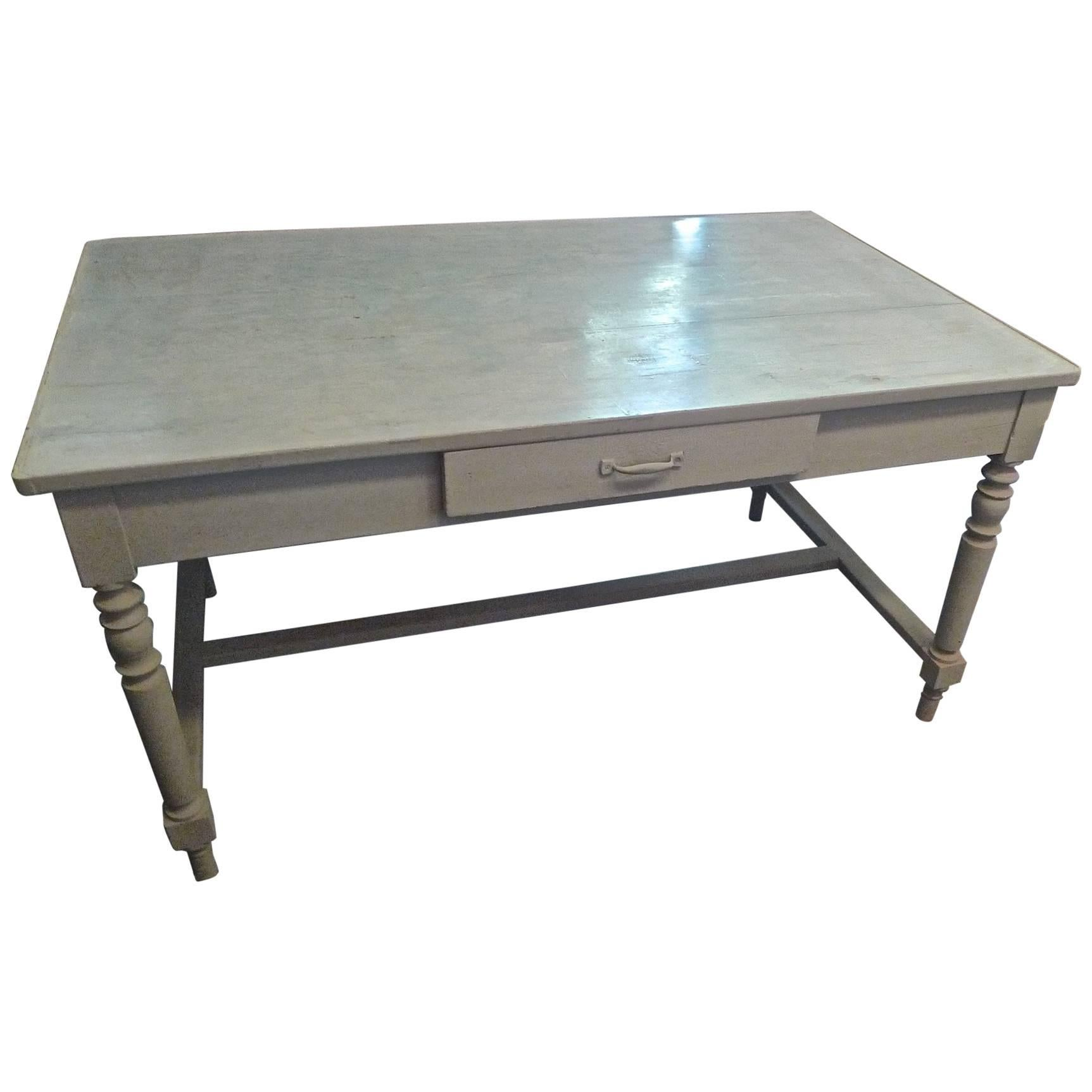 French 19th Century Painted Farm Table With Middle Drawer And Centre  Stretcher