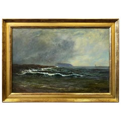 Jeffrey Leitz Signed Oil Painting Charles Island Squall Seascape Gold Frame