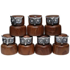 Collection of Midcentury Walnut and Aluminium Owl Chess Pieces, circa 1960s