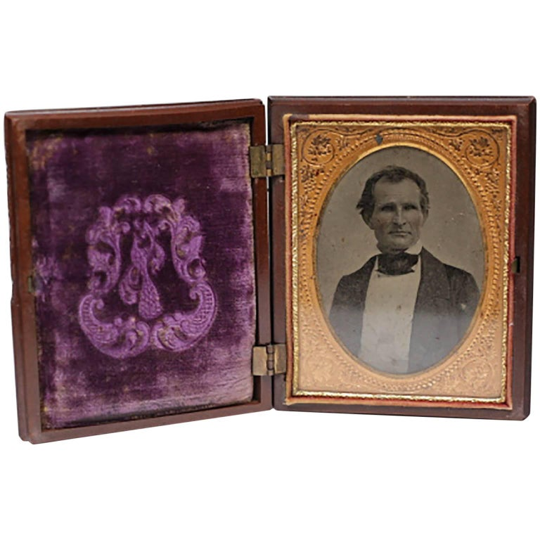 Large Daguerreotype in Embossed Gutta-Percha Case, circa 1880s