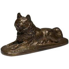19th Century Signed Fremiet Bronze Dog, circa 1800s