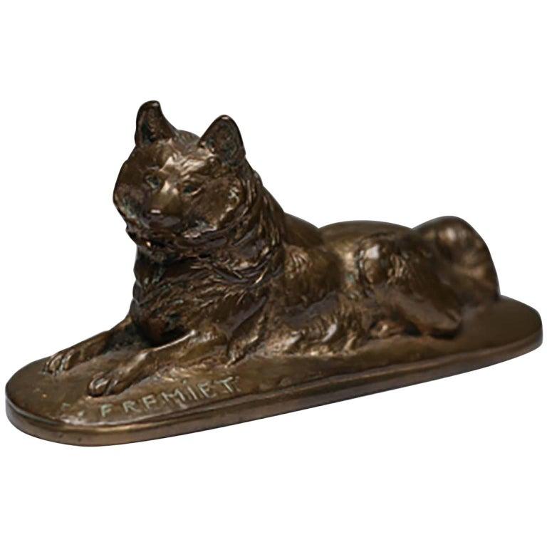 19th Century Signed Fremiet Bronze Dog, circa 1800s