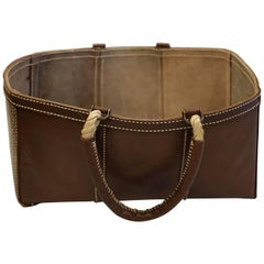Buffalo Leather Log Blanket Bag with Bronze Fitting and Natural Rope Handles