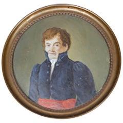 19th Century Small Oil Portrait of Red Headed Man, circa 1800s