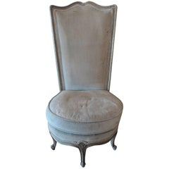 French 19th Century Boudoir Upholstered Chair with Silver Trim